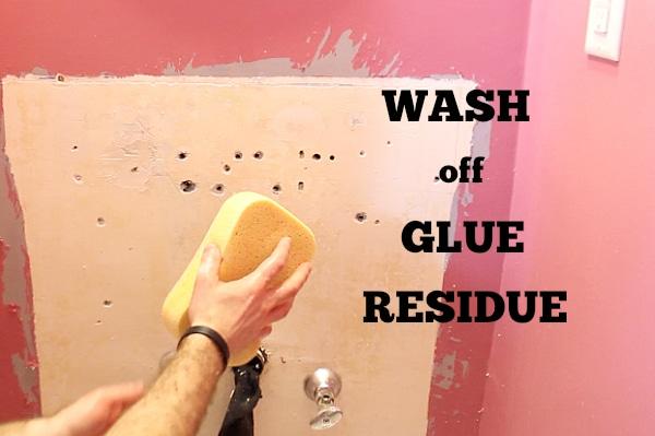 Wash off glue residue