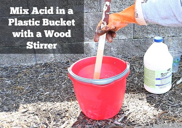 Mix Acid in Plastic Bucket
