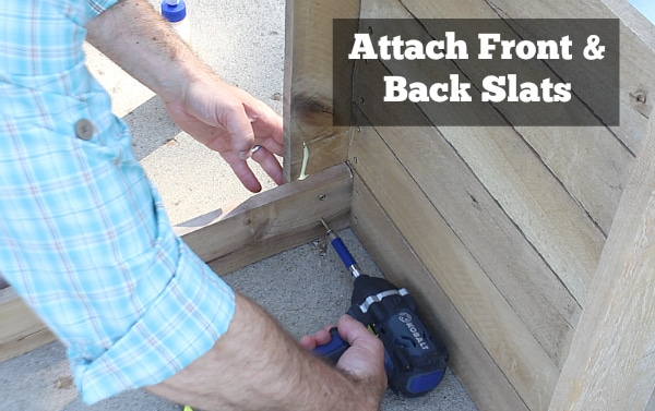 Attach front and back slats