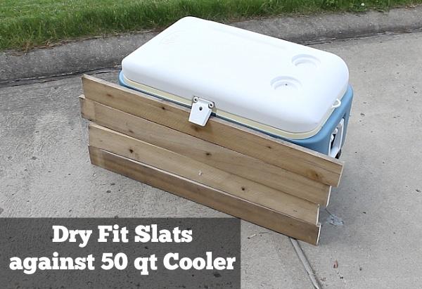 Dry fit slats against cooler