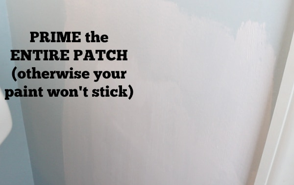 Prime the drywall patch
