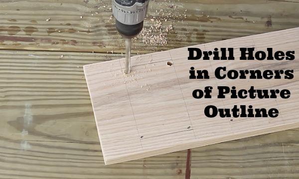 Drills holes in corners