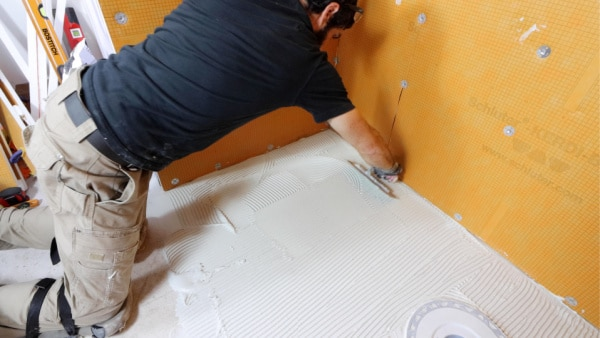 Troweling Thin-Set for Schluter Shower Pan